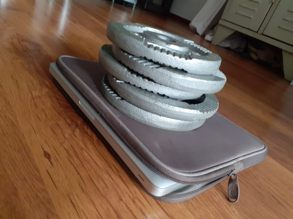 gewichten op laptophoes