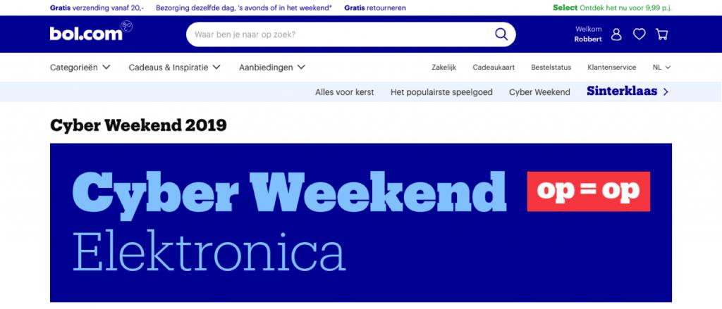 cyber weekend bij bol.com
