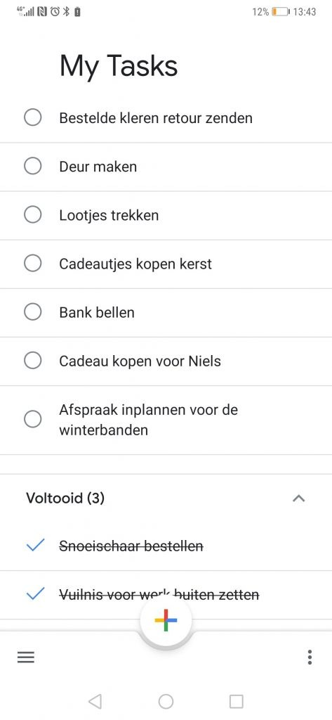 to do app tijdens testen